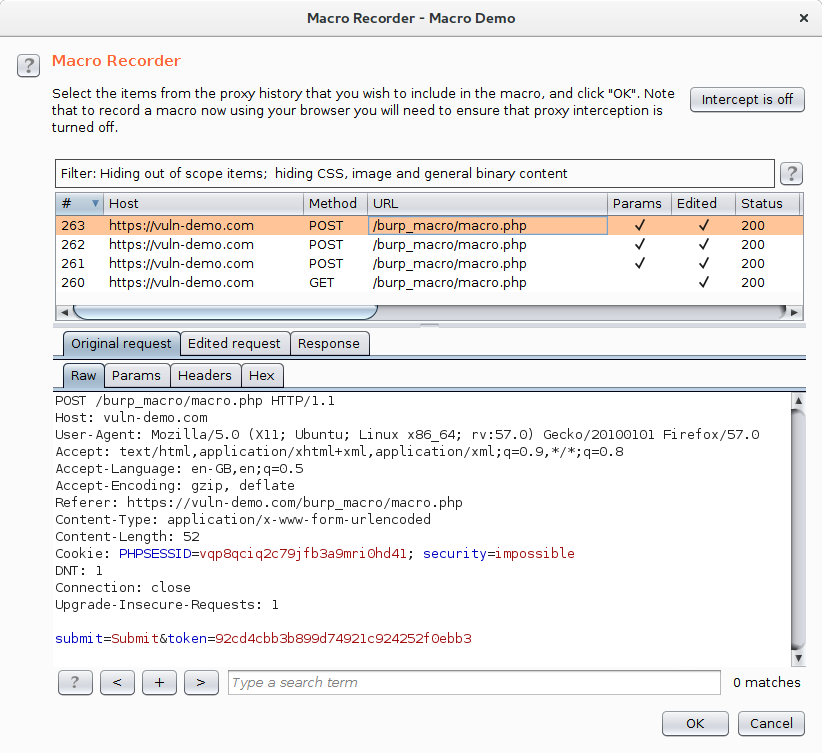 The Macro Recorder dialog listing all requests to the site