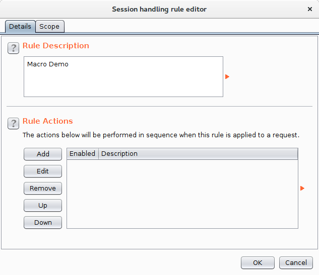 The Session handling rule editor dialog with the rule description populated