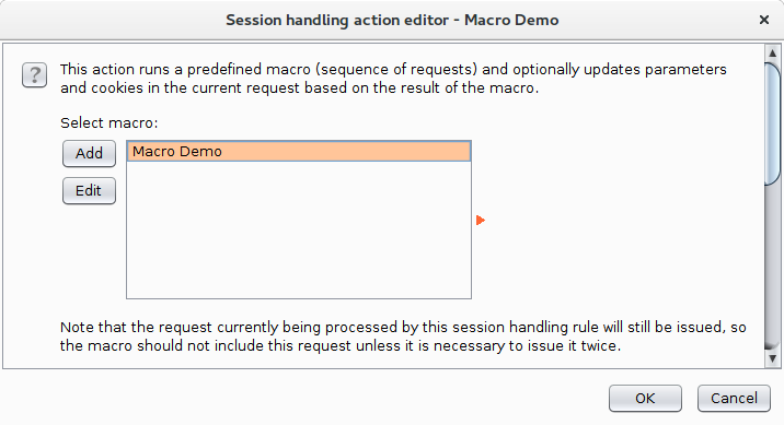 Selecting our macro in the Session Handling Action Editor dialog