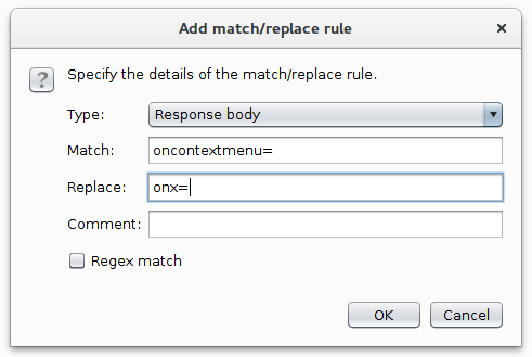 Burp 'Match and Replace' setting