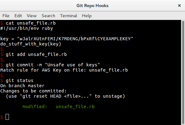 Git hook rejecting commit