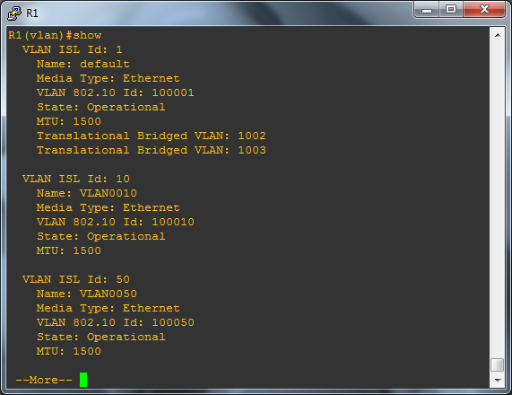 Showing the current VLAN config