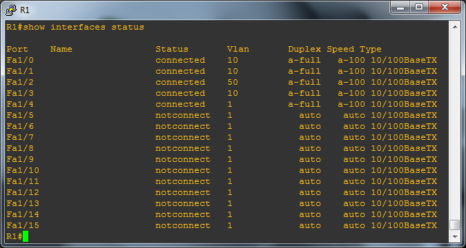 Console showing interface config to check VLAN assignments