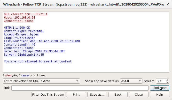 Wireshark view of the curl command created by Burp with no user again or accept header but another rejection message