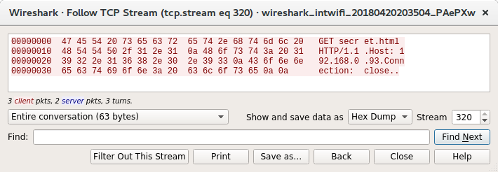 Wireshark showing the Burp request in hex