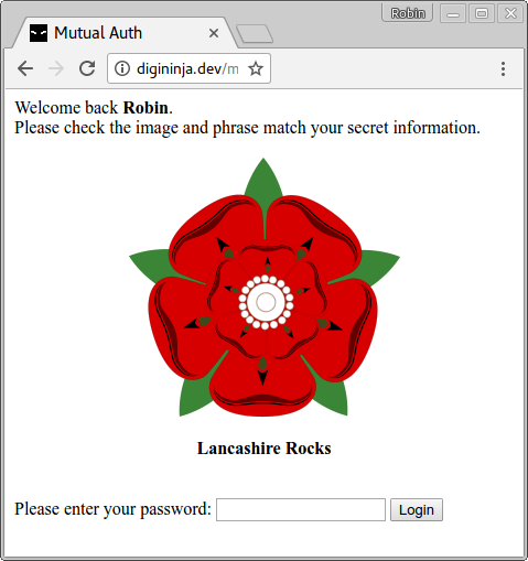 A screenshot of a banking mutual authentication page showing a secret picture and phrase.