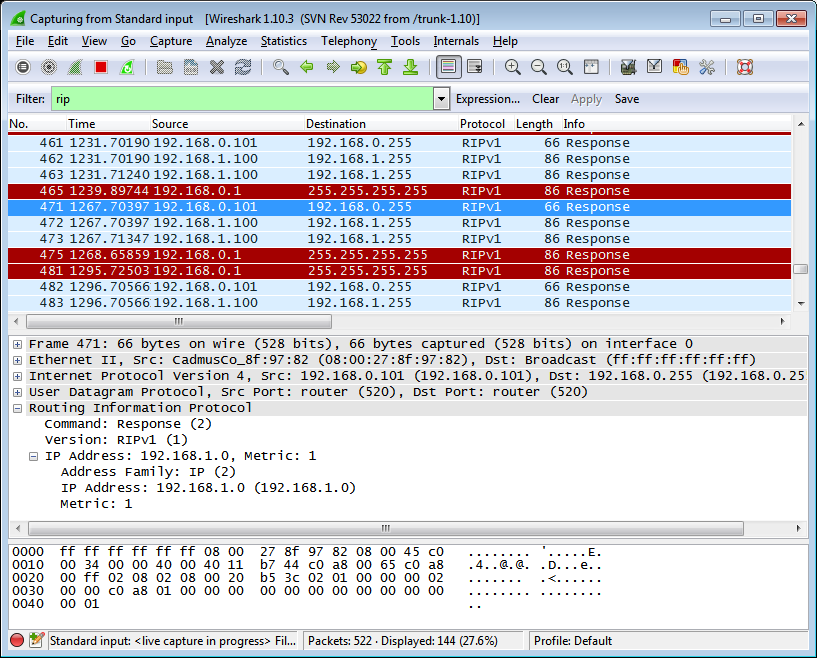 Wireshark seeing RIP packets coming out of VBox