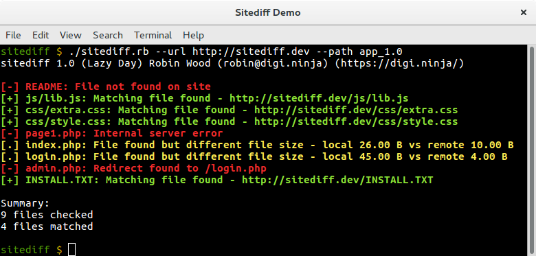 Sitediff running against version 1.0 of the files