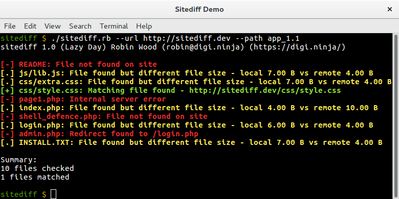 Sitediff running against version 1.1 of the files
