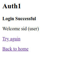 A successful login as Sid, a normal user