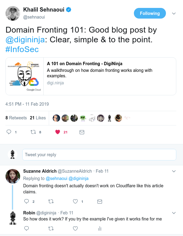 Tweet saying 'Domain fronting doesn't actually doesn't work on Cloudflare like this article claims.'