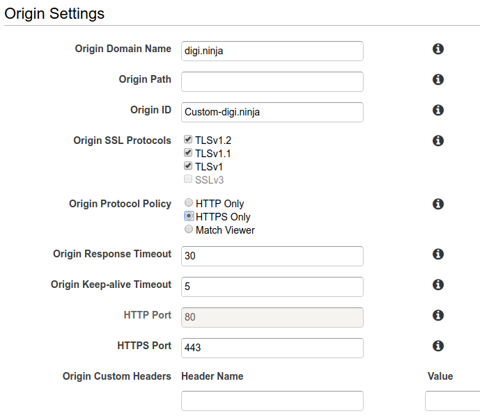 The settings for the origin