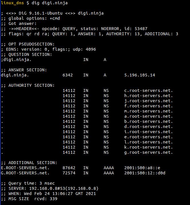 Dig in linux showing the various sections of a DNS response