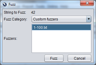 Selecting a custom fuzzer
